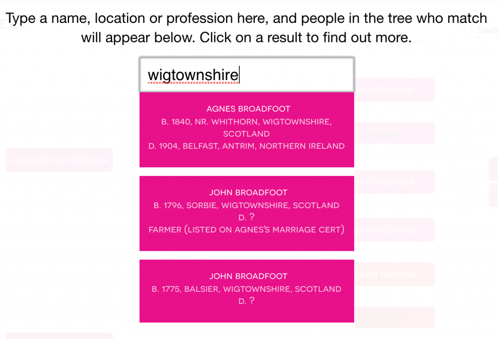 Search interface for ancestral trees showing a search for Wigtownshire bringing up results from my Broadfoot family of Sorbie, Cutcloy and Balsier
